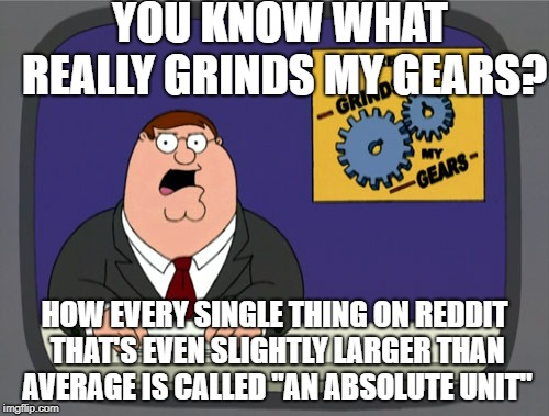 "Peter Griffin News Meme | YOU KNOW WHAT REALLY GRINDS MY GEARS? HOW EVERY SINGLE THING ON REDDIT THAT'S EVEN SLIGHTLY LARGER THAN AVERAGE IS CALLED ""AN ABSOLUTE UNIT"" 