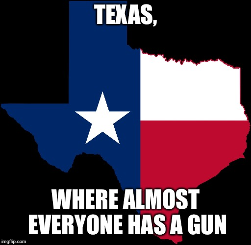 texas map | TEXAS, WHERE ALMOST EVERYONE HAS A GUN | image tagged in texas map | made w/ Imgflip meme maker