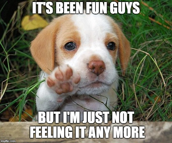 I'm just not interested in meme making anymore. Few people see them anyway, and I've hardly made any in the past 6 months... | IT'S BEEN FUN GUYS BUT I'M JUST NOT FEELING IT ANY MORE | image tagged in dog puppy bye | made w/ Imgflip meme maker