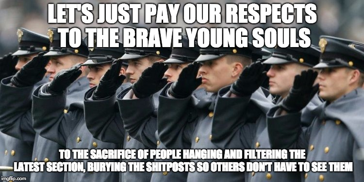 Military Salute |  LET'S JUST PAY OUR RESPECTS TO THE BRAVE YOUNG SOULS; TO THE SACRIFICE OF PEOPLE HANGING AND FILTERING THE LATEST SECTION, BURYING THE SHITPOSTS SO OTHERS DON'T HAVE TO SEE THEM | image tagged in military salute,press f to pay respects,brave souls,latest stream | made w/ Imgflip meme maker