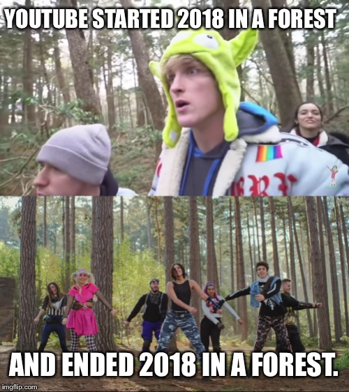 YOUTUBE STARTED 2018 IN A FOREST AND ENDED 2018 IN A FOREST. | image tagged in funny,memes,youtube,youtube rewind,tiger week 2018 | made w/ Imgflip meme maker