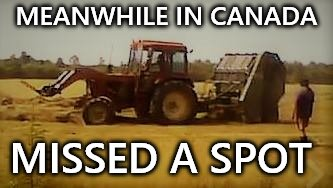 Meanwhile in canada | MEANWHILE IN CANADA MISSED A SPOT | image tagged in tractor,meanwhile in canada,funny meme,meme,memes,hay | made w/ Imgflip meme maker