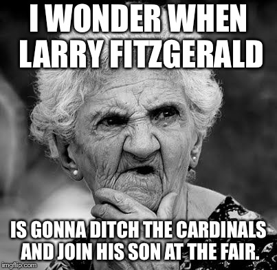 Playing for Cardinals must suck for Fitzgerald | I WONDER WHEN LARRY FITZGERALD IS GONNA DITCH THE CARDINALS AND JOIN HIS SON AT THE FAIR. | image tagged in wondering old lady,memes,fitzgerald,nfl football,game,cardinals | made w/ Imgflip meme maker