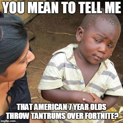 Third World Skeptical Kid Meme | YOU MEAN TO TELL ME THAT AMERICAN 7 YEAR OLDS THROW TANTRUMS OVER FORTNITE? | image tagged in memes,third world skeptical kid | made w/ Imgflip meme maker