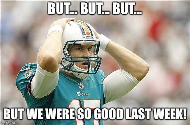 Ahhh, the NFL | BUT... BUT... BUT... BUT WE WERE SO GOOD LAST WEEK! | image tagged in nfl memes,miami dolphins | made w/ Imgflip meme maker