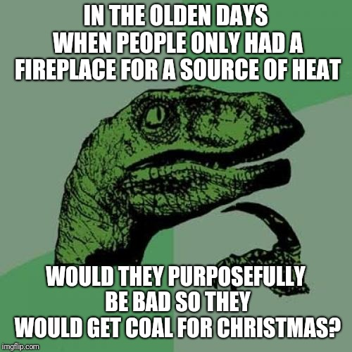 Philosoraptor Meme | IN THE OLDEN DAYS WHEN PEOPLE ONLY HAD A FIREPLACE FOR A SOURCE OF HEAT WOULD THEY PURPOSEFULLY BE BAD SO THEY WOULD GET COAL FOR CHRISTMAS? | image tagged in memes,philosoraptor | made w/ Imgflip meme maker