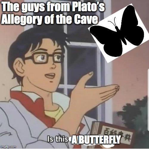Butterfly man |  The guys from Plato's Allegory of the Cave; A BUTTERFLY | image tagged in butterfly man | made w/ Imgflip meme maker