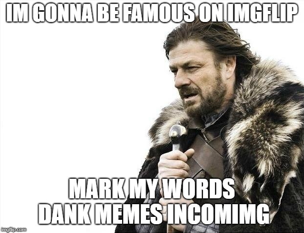 Brace Yourselves X is Coming | IM GONNA BE FAMOUS ON IMGFLIP MARK MY WORDS DANK MEMES INCOMIMG | image tagged in memes,brace yourselves x is coming | made w/ Imgflip meme maker