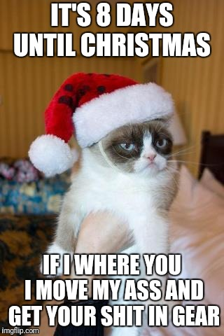 Grumpy Cat Christmas | IT'S 8 DAYS UNTIL CHRISTMAS IF I WHERE YOU I MOVE MY ASS AND GET YOUR SHIT IN GEAR | image tagged in memes,grumpy cat christmas,grumpy cat | made w/ Imgflip meme maker