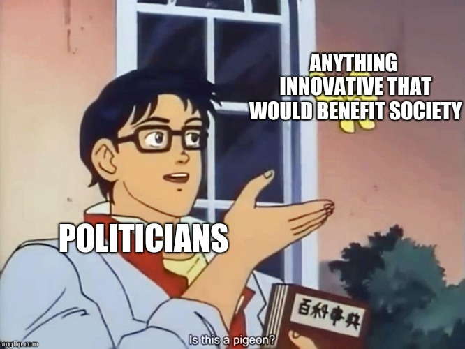ANIME BUTTERFLY MEME | ANYTHING INNOVATIVE THAT WOULD BENEFIT SOCIETY POLITICIANS | image tagged in anime butterfly meme | made w/ Imgflip meme maker