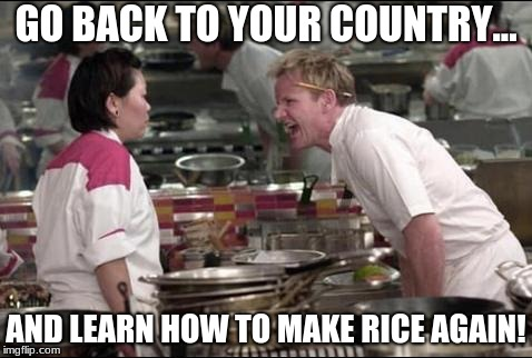 GO BACK TO YOUR COUNTRY... AND LEARN HOW TO MAKE RICE AGAIN! | image tagged in gordan ramsay yell at asian | made w/ Imgflip meme maker
