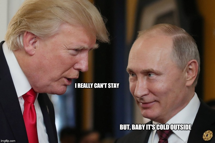 A Christmas Classic | I REALLY CAN'T STAY BUT, BABY IT'S COLD OUTSIDE | image tagged in baby it's cold outside,trump,putin,russia,best friends,war on christmas | made w/ Imgflip meme maker
