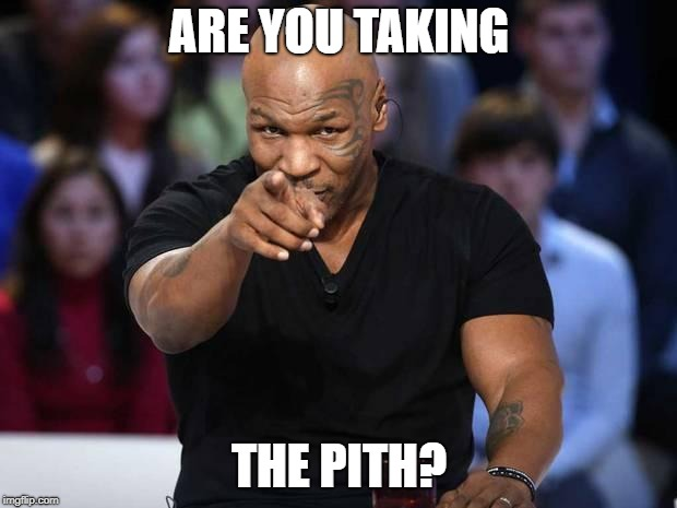 Mike Tyson | ARE YOU TAKING THE PITH? | image tagged in mike tyson | made w/ Imgflip meme maker