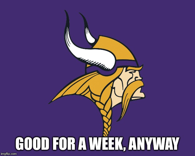 Minnesota Vikings | GOOD FOR A WEEK, ANYWAY | image tagged in minnesota vikings | made w/ Imgflip meme maker