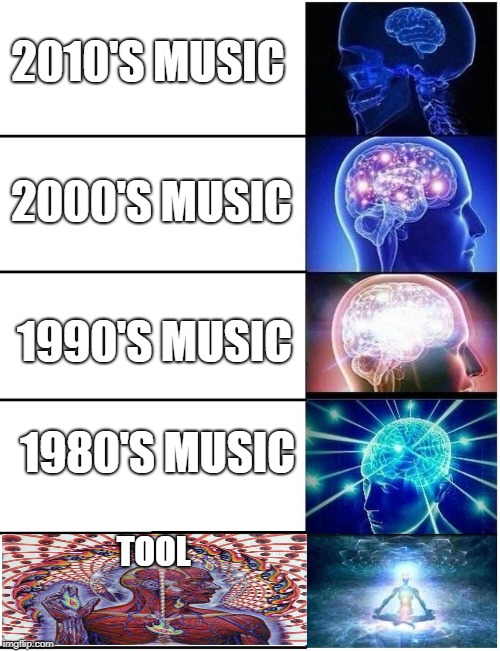 Expanding Brain 5 Panel | 2010'S MUSIC TOOL 2000'S MUSIC 1990'S MUSIC 1980'S MUSIC | image tagged in expanding brain 5 panel | made w/ Imgflip meme maker