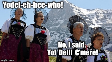 When you wish they'd just downvoted it dead instead | Yodel-eh-hee-who! No, I said, Yo!  Dell!  C'mere! | image tagged in yodeling,misunderstood,dell,yelling,funny memes,switzerland | made w/ Imgflip meme maker