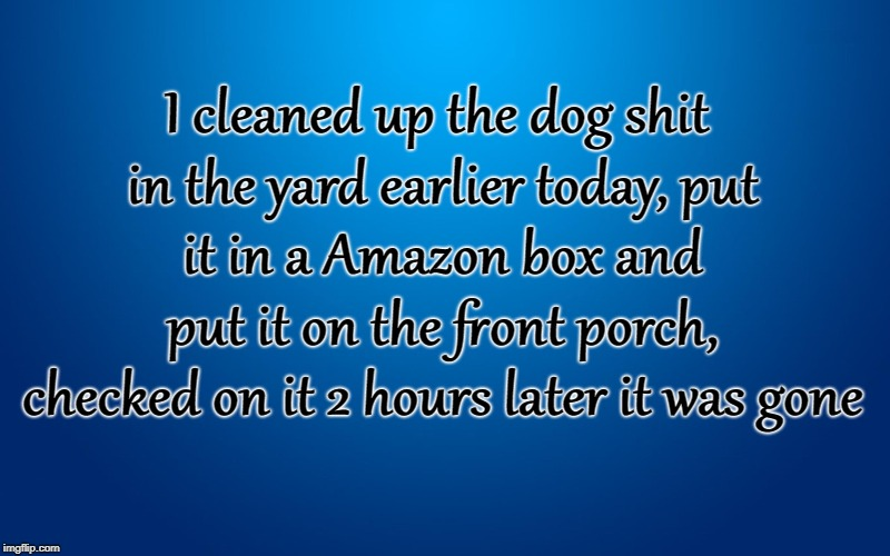 How to get rid of Pet Waste | I cleaned up the dog shit in the yard earlier today, put it in a Amazon box and put it on the front porch, checked on it 2 hours later it wa | image tagged in pet waste,dog poop,amazon,front porch thief,forrest gump box of chocolates,box of shit | made w/ Imgflip meme maker