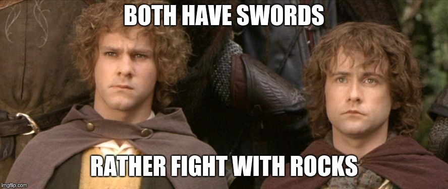 merry and pippin |  BOTH HAVE SWORDS; RATHER FIGHT WITH ROCKS | image tagged in merry and pippin | made w/ Imgflip meme maker