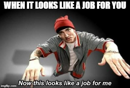 Now this looks like a job for me | WHEN IT LOOKS LIKE A JOB FOR YOU | image tagged in now this looks like a job for me | made w/ Imgflip meme maker