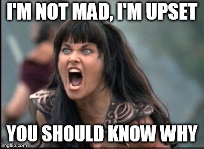 Screaming Woman | I'M NOT MAD, I'M UPSET YOU SHOULD KNOW WHY | image tagged in screaming woman | made w/ Imgflip meme maker