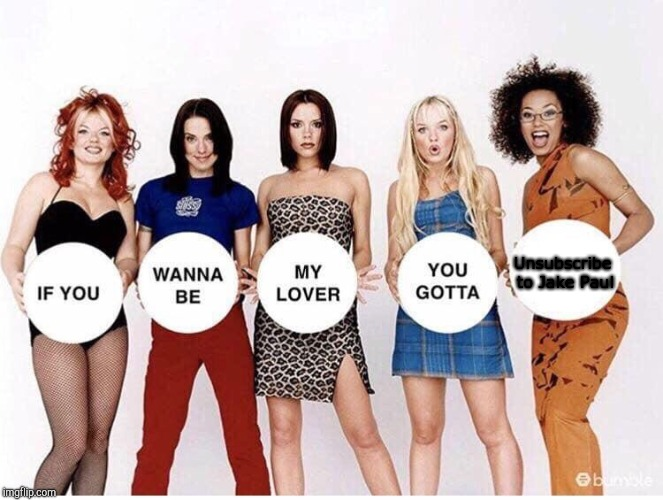 Spice Girls If You Wanna Be | Unsubscribe to Jake Paul | image tagged in spice girls if you wanna be | made w/ Imgflip meme maker