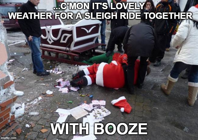 Oh deer | ...C'MON IT'S LOVELY WEATHER FOR A SLEIGH RIDE TOGETHER WITH BOOZE | image tagged in merry christmas,dui,funny memes | made w/ Imgflip meme maker