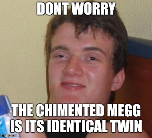 10 Guy Meme | DONT WORRY THE CHIMENTED MEGG IS ITS IDENTICAL TWIN | image tagged in memes,10 guy | made w/ Imgflip meme maker