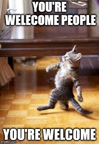 Cool Cat Stroll Meme | YOU'RE WELECOME PEOPLE YOU'RE WELCOME | image tagged in memes,cool cat stroll | made w/ Imgflip meme maker
