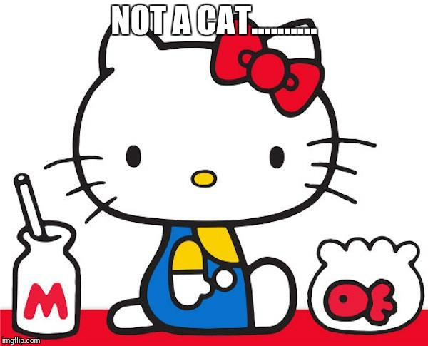 Hello kitty not a cat its true!!!!! |  NOT A CAT.......... | image tagged in hello kitty,cats,memes | made w/ Imgflip meme maker
