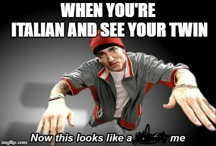 Now this looks like a job for me | WHEN YOU'RE ITALIAN AND SEE YOUR TWIN | image tagged in now this looks like a job for me | made w/ Imgflip meme maker