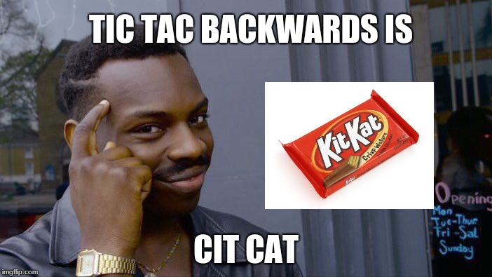 Roll Safe Think About It Meme | TIC TAC BACKWARDS IS CIT CAT | image tagged in memes,roll safe think about it | made w/ Imgflip meme maker