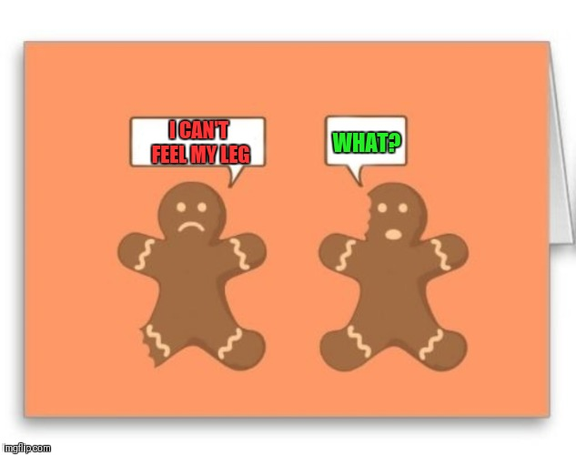 That's My Bad Ear | I CAN'T FEEL MY LEG WHAT? | image tagged in memes,funny,gingerbread man,deaf,christmas cookies | made w/ Imgflip meme maker