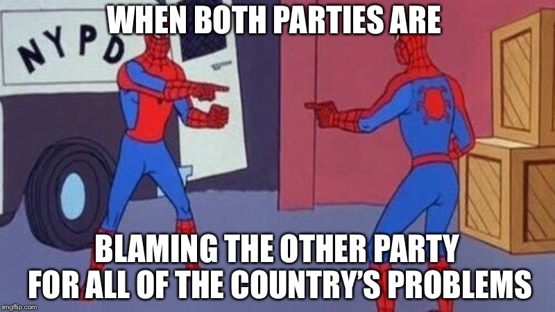 Welcome to America | WHEN BOTH PARTIES ARE BLAMING THE OTHER PARTY FOR ALL OF THE COUNTRY'S PROBLEMS | image tagged in spiderman pointing at spiderman,politics,democrats,republicans | made w/ Imgflip meme maker
