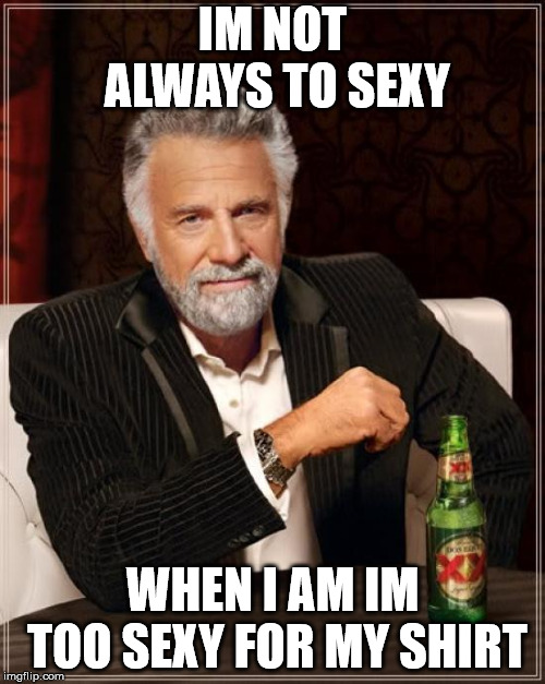 The Most Interesting Man In The World |  IM NOT ALWAYS TO SEXY; WHEN I AM IM TOO SEXY FOR MY SHIRT | image tagged in memes,the most interesting man in the world | made w/ Imgflip meme maker