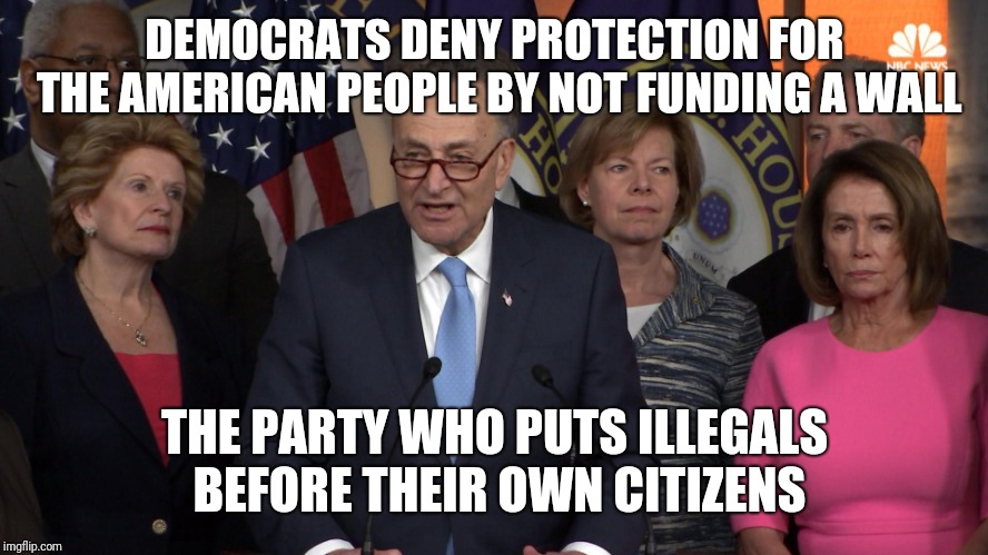 Democrat congressmen | DEMOCRATS DENY PROTECTION FOR THE AMERICAN PEOPLE BY NOT FUNDING A WALL THE PARTY WHO PUTS ILLEGALS BEFORE THEIR OWN CITIZENS | image tagged in democrat congressmen | made w/ Imgflip meme maker