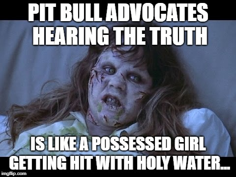 Possessed Pit Pusher | PIT BULL ADVOCATES HEARING THE TRUTH IS LIKE A POSSESSED GIRL GETTING HIT WITH HOLY WATER... | image tagged in the exorcist,pit bulls,pit bull,possessed,truth,ban pits | made w/ Imgflip meme maker