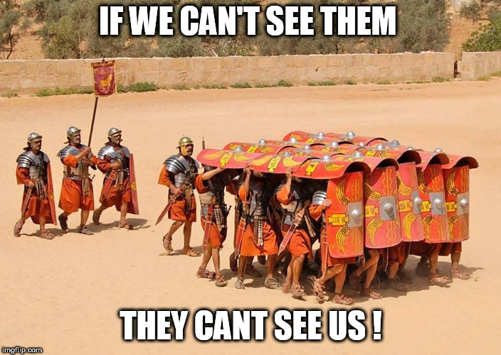 IF WE CAN'T SEE THEM THEY CANT SEE US ! | image tagged in rome | made w/ Imgflip meme maker