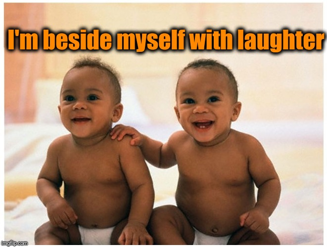 laughter | I'm beside myself with laughter | image tagged in laughter | made w/ Imgflip meme maker