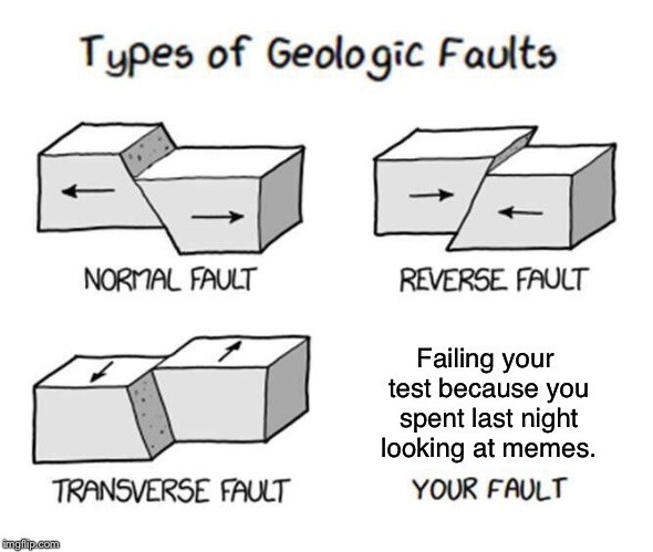 That's your problem... | Failing your test because you spent last night looking at memes. | image tagged in types of faults,memes | made w/ Imgflip meme maker