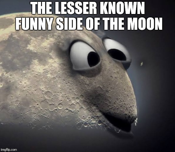Funny side of the moon | THE LESSER KNOWN FUNNY SIDE OF THE MOON | image tagged in funny moon,funny side of the moon | made w/ Imgflip meme maker