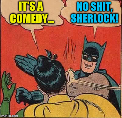 Batman Slapping Robin Meme | IT'S A COMEDY... NO SHIT, SHERLOCK! | image tagged in memes,batman slapping robin | made w/ Imgflip meme maker