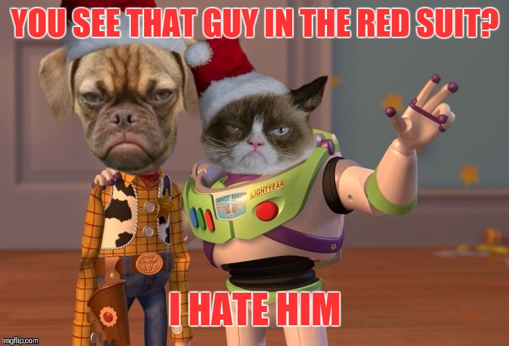 Grumpy Christmas |  YOU SEE THAT GUY IN THE RED SUIT? I HATE HIM | image tagged in memes,x x everywhere,funny,grumpy cat,grumpy dog,santa claus | made w/ Imgflip meme maker
