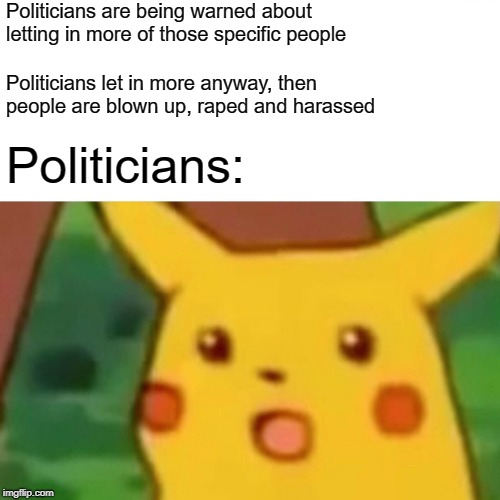 Politicians are being warned about letting in more of those specific people Politicians let in more anyway, then people are blown up, **ped  | image tagged in memes,surprised pikachu | made w/ Imgflip meme maker