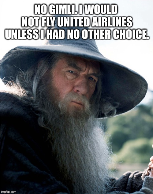 Don't fly on United. Gandalf says so. | NO GIMLI. I WOULD NOT FLY UNITED AIRLINES UNLESS I HAD NO OTHER CHOICE. | image tagged in gandalf no gimli,memes,united airlines,lord of the rings,movie quotes,airplane | made w/ Imgflip meme maker