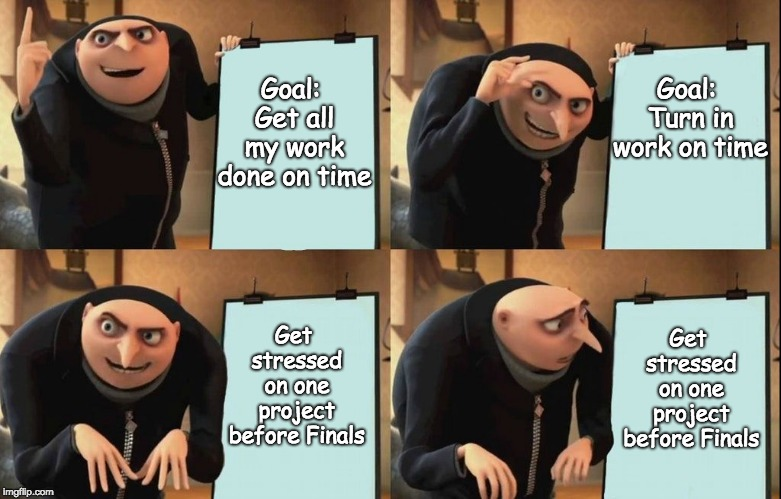Gru Meme | Goal: Get all my work done on time Goal: Turn in work on time Get stressed on one project before Finals Get stressed on one project before F | image tagged in gru meme | made w/ Imgflip meme maker