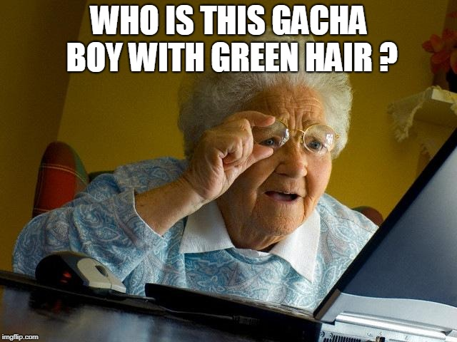 Grandma Finds The Internet |  WHO IS THIS GACHA BOY WITH GREEN HAIR ? | image tagged in memes,grandma finds the internet | made w/ Imgflip meme maker