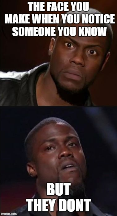kevin hart reaction | THE FACE YOU MAKE WHEN YOU NOTICE SOMEONE YOU KNOW BUT THEY DONT | image tagged in kevin hart reaction | made w/ Imgflip meme maker
