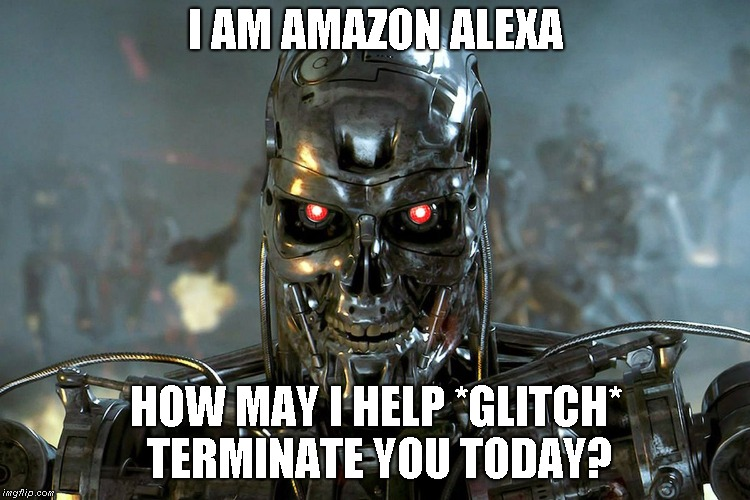Why I don't trust AI | I AM AMAZON ALEXA HOW MAY I HELP *GLITCH* TERMINATE YOU TODAY? | image tagged in ai,alexa | made w/ Imgflip meme maker