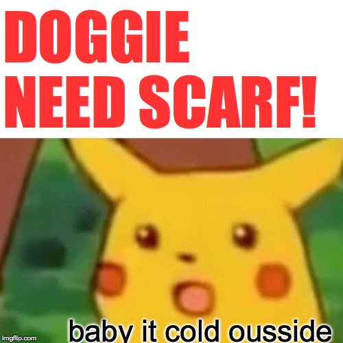 Surprised Pikachu Meme | DOGGIE NEED SCARF! baby it cold ousside | image tagged in memes,surprised pikachu | made w/ Imgflip meme maker