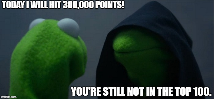 Thanks to everyone who helped me reach this lil milestone! | TODAY I WILL HIT 300,000 POINTS! YOU'RE STILL NOT IN THE TOP 100. | image tagged in memes,evil kermit,funny,politics,imgflip points | made w/ Imgflip meme maker